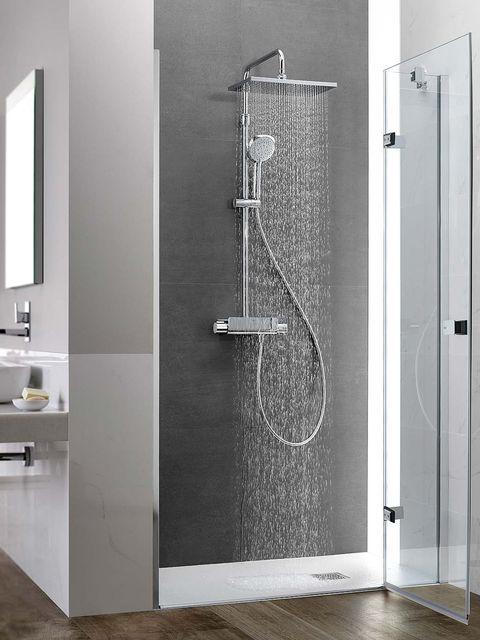 Shower panel, Shower, Door, Room, Shower door, Plumbing fixture, Bathroom, Automotive exterior, Shower bar, Glass,