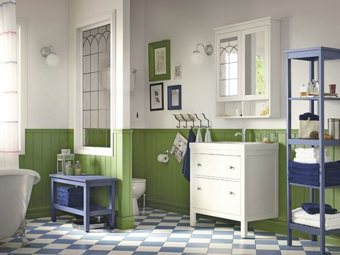 Blue, Room, Floor, Interior design, Green, Flooring, Drawer, Home, Cabinetry, Wall,