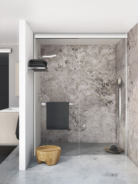 Wall, Room, Floor, Fixture, Rectangle, Plaster, Silver, Building material, Aluminium,