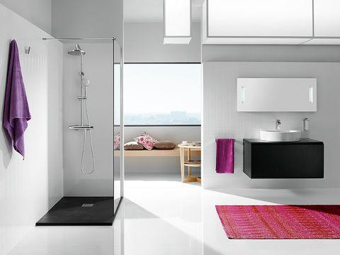 Room, Floor, Interior design, Wall, Flooring, Purple, Violet, Grey, Cabinetry, Display device,