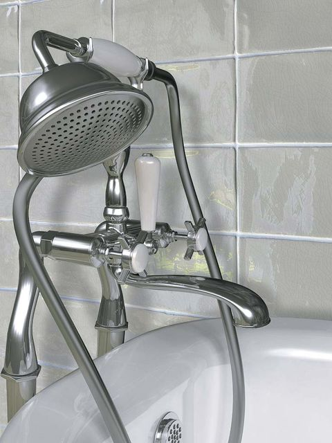 Wall, Plumbing fixture, Bicycle accessory, Grey, Composite material, Plumbing, Metal, Tile, Tap, Silver,