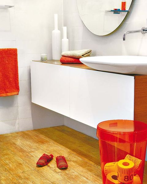 Room, Interior design, Wall, Red, Floor, Flooring, Orange, Interior design, Plumbing fixture, Household supply,