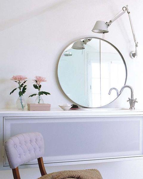 Room, Wall, Interior design, Fixture, Interior design, Oval, Mirror, Metal, Flowerpot, Still life photography,