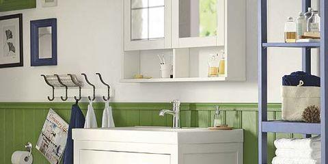 Room, Green, Floor, Drawer, Interior design, White, Flooring, Cabinetry, Plumbing fixture, Home,