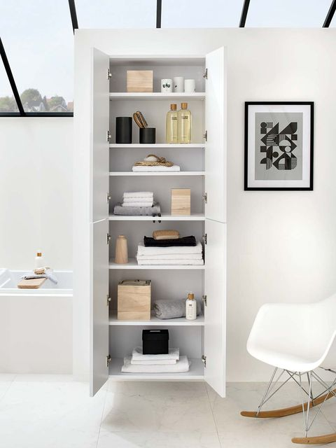 Shelf, Shelving, White, Furniture, Room, Interior design, Floor, Wall, Building, Material property,