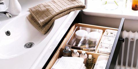 Plumbing fixture, Bathroom sink, Home accessories, Basket, Sink, Tap, Plumbing, Storage basket, Wicker, Bathroom accessory,