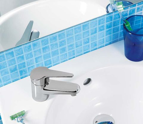 Fluid, Blue, Liquid, Plumbing fixture, Aqua, Bathroom sink, Tile, Bathroom accessory, Ceramic, Azure,