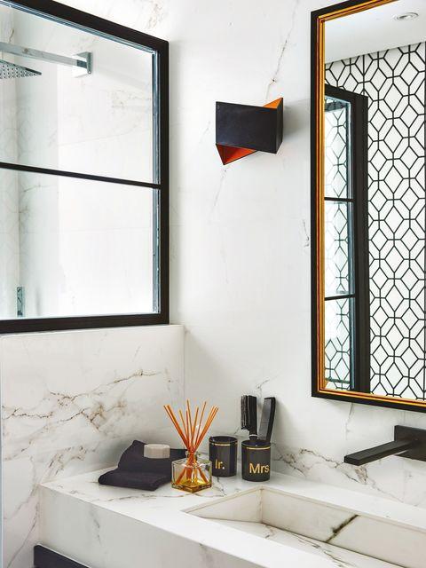 Interior design, Room, Orange, Wall, Furniture, Tile, Design, Architecture, Floor, Building,