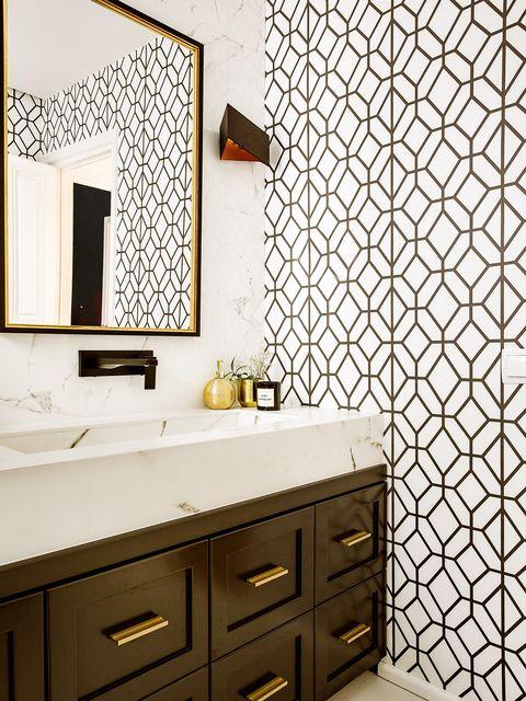 Tile, Room, Wall, Property, Interior design, Floor, Wallpaper, Bathroom, Furniture, Bathroom accessory,