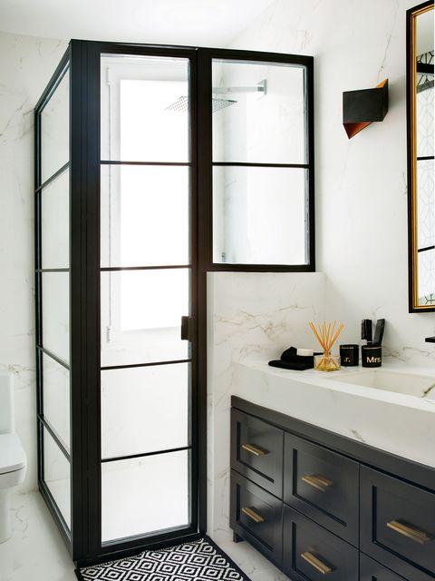 Room, Furniture, Cabinetry, Shelf, Interior design, Architecture, Door, Building, Bathroom accessory, Bathroom,