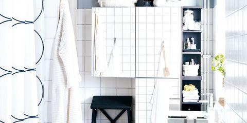 Interior design, Wall, Room, Tile, Ceramic, Shelving, Household supply, Plumbing fixture, Porcelain, Plumbing,
