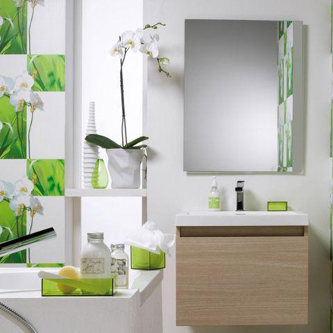 Green, Room, Wall, Interior design, Household supply, Sink, Kitchen utensil, Artifact, Rectangle, Shelving,