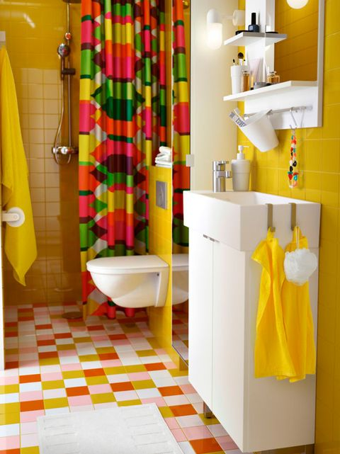 Room, Yellow, Floor, Plumbing fixture, Property, Flooring, Interior design, Tile, Wall, Interior design,
