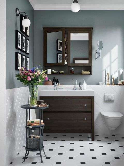 Bathroom, Room, Black, Bathroom cabinet, Furniture, Interior design, Property, Sink, Floor, Tile,