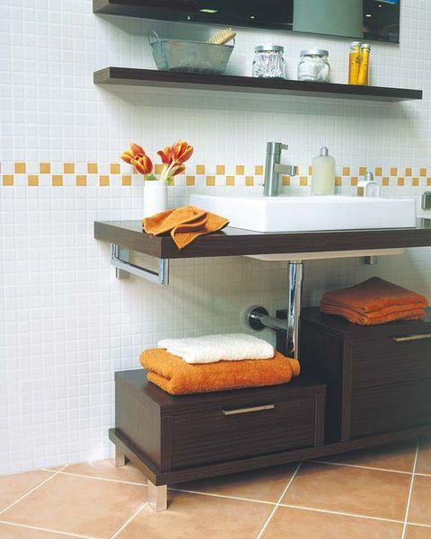 Room, Interior design, Wall, Floor, Flooring, Bed, Orange, Hardwood, Shelving, Grey,