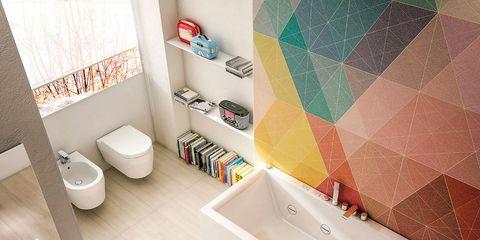 Plumbing fixture, Property, Room, Wall, Floor, Flooring, Tile, Interior design, Bathroom sink, Ceramic,