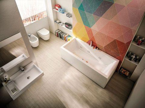 Plumbing fixture, Property, Room, Wall, Tile, Interior design, Floor, Bathroom sink, Flooring, Toilet,