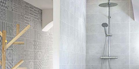 Room, Wall, Floor, Interior design, Tile, Plumbing fixture, Plumbing, Chime, Wallpaper, Bathroom,