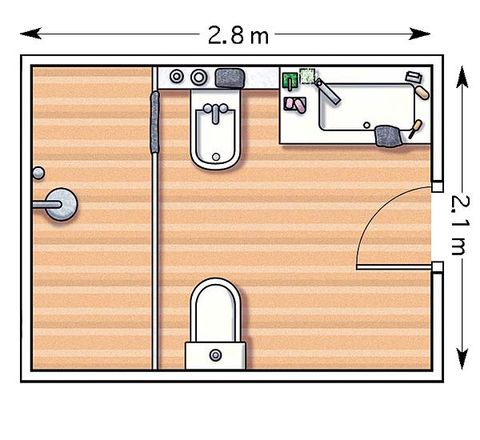 Ejemplos de cuartos de baño con ducha (y los planos)