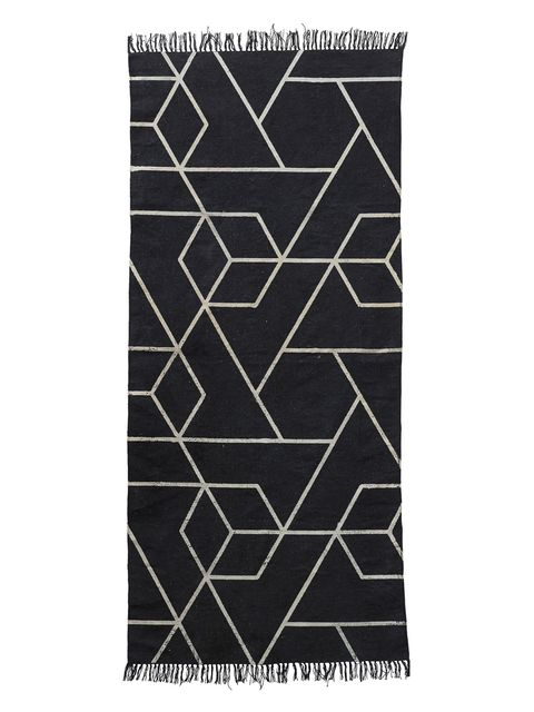 Line, Pattern, Rug, Black-and-white, Rectangle,