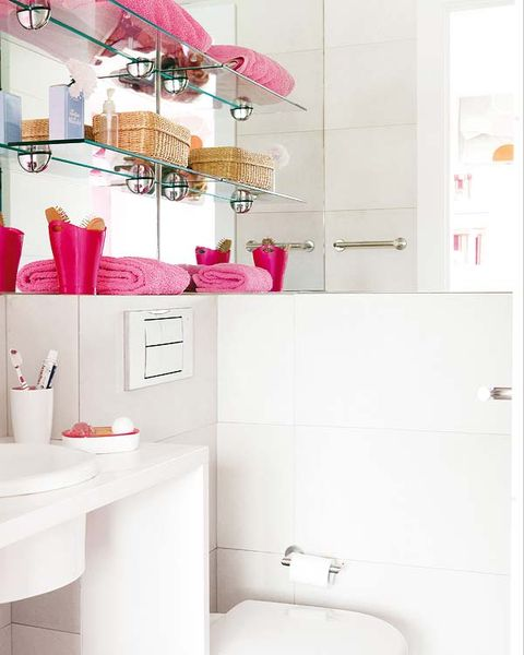 Room, Interior design, Plumbing fixture, Property, Wall, Pink, Magenta, Purple, Interior design, Bathroom sink,