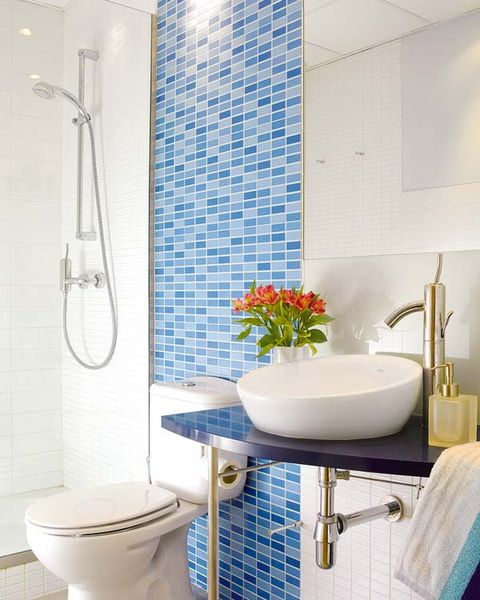 Plumbing fixture, Blue, Room, Interior design, Tile, Property, Bathroom sink, Wall, Purple, Porcelain,