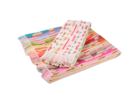 Textile, Pink, Linens, Pattern, Magenta, Home accessories, Cushion, Rectangle, Paper product, Pattern,