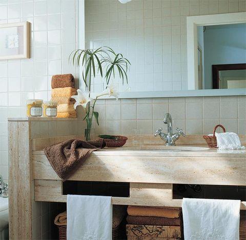 Room, Interior design, Property, Wall, Plumbing fixture, Interior design, Tap, Tile, Sink, Beige,