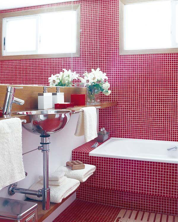 Baños Gresite   Un Bano Actual En Gresite Rojo En 5 M