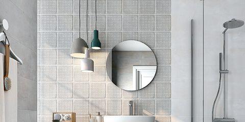 Tile, Bathroom, Floor, Room, Property, Interior design, Wall, Flooring, Ceramic, Tap,