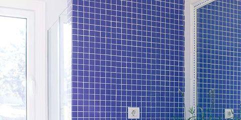 Blue, Floor, Flooring, Room, Property, Plumbing fixture, Interior design, Tile, Cabinetry, Glass,
