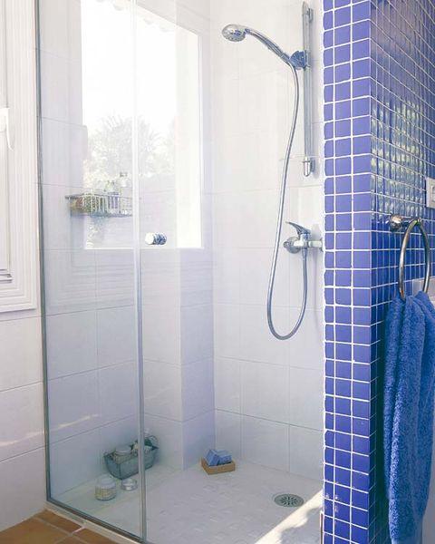 Architecture, Property, Wall, Room, Plumbing fixture, Glass, Purple, Flooring, Floor, Tile,