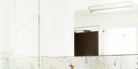 Room, Interior design, Floor, Red, Cabinetry, Plumbing fixture, Countertop, Cupboard, Wall, Interior design,