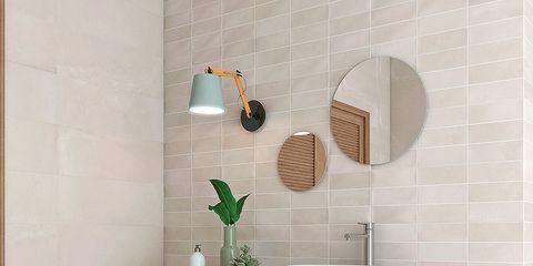 Room, Wall, Interior design, Plumbing fixture, Tile, Sink, Household supply, Tap, Bathroom accessory, Beige,