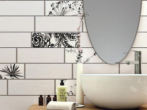 Wall, Plumbing fixture, Ceramic, Tile, Porcelain, Plumbing, Composite material, Rectangle, Black-and-white, Design,