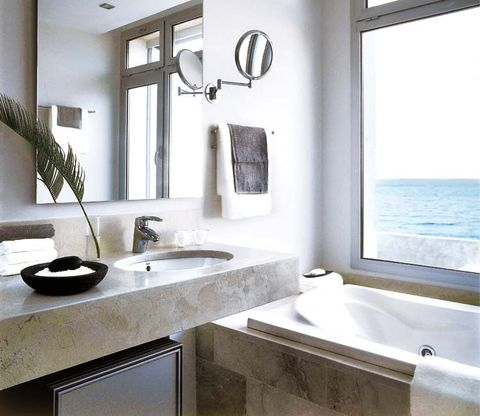 Plumbing fixture, Architecture, Room, Interior design, Bathroom sink, Property, Tap, Glass, Wall, Real estate,