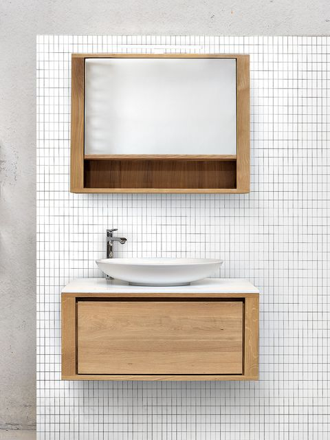 Wall, Bathroom, Room, Bathroom accessory, Shelf, Tile, Bathroom cabinet, Sink, Material property, Rectangle,