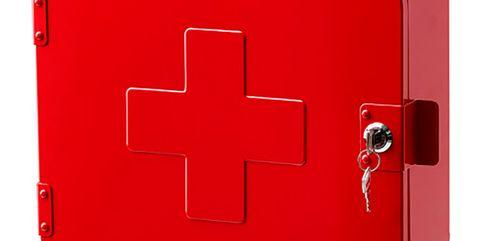 armario botiquín rojo con llave
