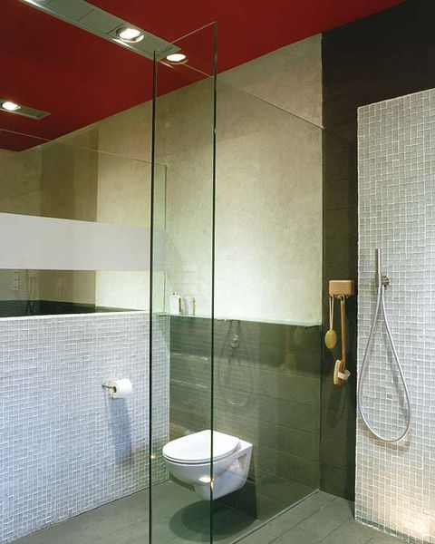 Architecture, Property, Tile, Wall, Floor, Glass, Flooring, Plumbing fixture, Fixture, Ceiling,