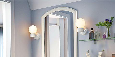 Bathroom, Room, Bathroom cabinet, Property, Sink, Interior design, Furniture, Lighting, Mirror, Tap,