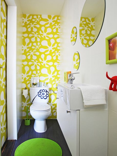 Yellow, Green, Room, Interior design, Wall, Floor, Flooring, Toilet, Interior design, Toilet seat,
