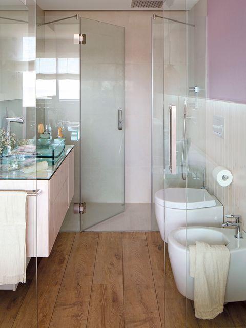 Floor, Room, Plumbing fixture, Interior design, Architecture, Flooring, Glass, Property, Tile, Wall,