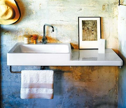 Wall, Plumbing fixture, Bathroom sink, Sink, Tap, Rectangle, Plumbing, Ceramic, Still life photography, Plumbing fitting,