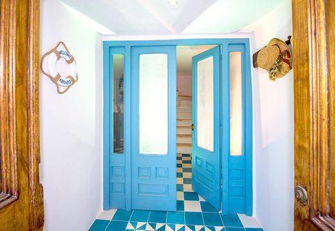 Blue, Property, Turquoise, Room, Wall, Door, Interior design, Ceiling, Hardwood, Molding,