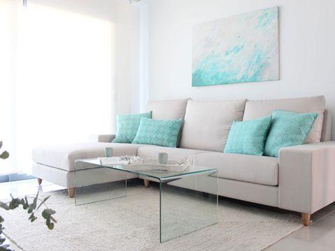 Blue, Green, Room, Interior design, Floor, Living room, Furniture, Wall, Flooring, Couch,