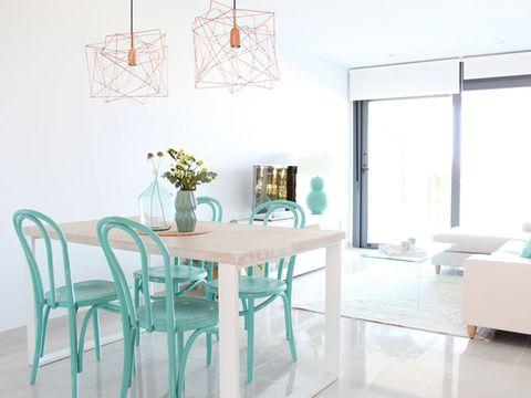 Room, Interior design, Table, Furniture, Floor, Glass, Turquoise, Teal, Dining room, Flooring,