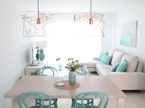Room, Green, Interior design, Furniture, Table, Teal, Turquoise, Couch, Wall, Floor,