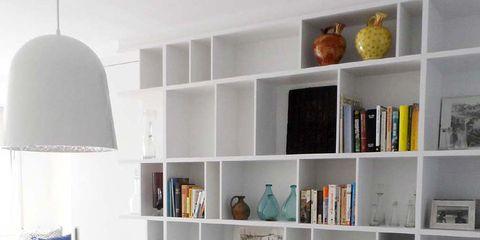 Room, Interior design, Shelf, Shelving, Wall, Furniture, White, Home, Orange, Floor,
