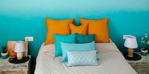 Blue, Turquoise, Aqua, Room, Yellow, Furniture, Wall, Orange, Teal, Interior design,