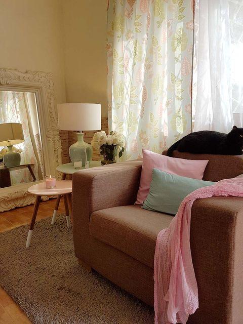 Interior design, Room, Floor, Flooring, Textile, Home, Furniture, Interior design, Linens, Window treatment,